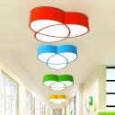 Connecting Oval Flush Light Simplicity Acrylic Red/Yellow/Green LED Ceiling Flush Mount for Corridor