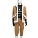 Anime Cosplay Fluffy Trim Jacket Striped Fit Tee Top Capri Pants Gloves Belt Co-ords