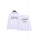 Mens Stylish Letter Swfs Printed Long Sleeve Crew Neck Relaxed Pullover Sweatshirt