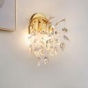 2 Heads Sconce Lighting Contemporary Leaves Faceted Crystal Wall Mounted Lamp in Gold