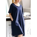 Blue Casual Solid Color Two-Pocket Round Neck Short Sleeve Oversized Midi T Shirt Nightdress for Women