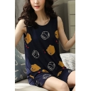 Popular Ladies Cartoon Bear Print Lettuce Trim Scoop Neck Sleeveless Loose Tank Top & Pocket Shorts Pajama Set in Blue