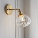 Colonial Pumpkin Wall Lighting 1 Light Clear Glass Wall Mounted Light in Gold for Bedroom