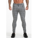 Men's Hot Fashion Plaid Pattern Tape Side Grey Casual Skinny Pencil Pants
