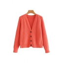 Stylish Solid Color Button Closure V Neck Long Sleeve Loose Fit Rib Knit Cardigan Sweater for Ladies