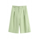 Womens Fashion Shorts Plain Zip Fly Knee Length High Rise Pleated Detail Pocket Straight Fit Green Basic Shorts