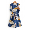 Basic Womens Rompers Crane Printed Bow-Knot Waist Zipper Back Sleeveless A-Line Crew Neck Loose Fitted Rompers