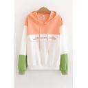 Chic Color Block Letter Lucky Dream Paradise Embroidery Drawstring Long Sleeve Loose Fit Hoodie for Ladies