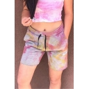Brown Popular Tie Dye Printed Elastic Waist Relaxed Fit Shorts for Girls