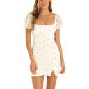 Adorable Allover Floral Embroidered Puff Sleeve Square Neck Slit Mini Bodycon Dress in White