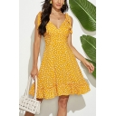 Popular Womens All over Printed Backless Ruffled Stringy Selvedge Bow Tie Shoulder V Neck Sleeveless Midi A-Line Slip Dress in Yellow