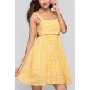 Yellow Popular Womens Plaid Printed Bow Tie Back Backless Gathered Waist Square Neck Straps Sleeveless Mini A-Line Slip Dress