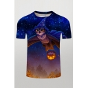 Mens Lovely T-Shirt Starry Sky Cat Wings Pumpkin Hat Trees 3D Print Slim Fitted Round Neck Short Sleeve T-Shirt