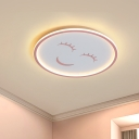 Cartoon LED Flush Mount Pink Smiling Face Ceiling Lighting with Acrylic Shade in Warm/White Light