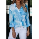 Popular Womens Tie Dye Printed Chest Pocket Long Sleeve Spread Collar Button up Relaxed Fit Shirt Top
