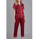 Simple Ladies Contrast Piping Button Through Pocket Lapel Collar Short Sleeve Loose  Shirt & Ankle Length Pants Pajama Set