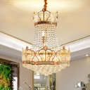 8 Heads Gold Crown Ceiling Hang Fixture Contemporary Beveled Crystal Pendant Chandelier