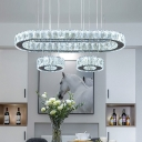 Oval and Round Cut Crystal Ceiling Lamp Minimalism Stainless-Steel LED Multi Pendant in Warm/White Light