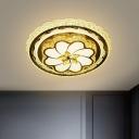 Flower Flush Mount Lighting Contemporary Crystal LED Bedroom Ceiling Light Fixture in Stainless-Steel