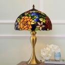 Baroque Bowl Night Lamp 1 Head Cut Glass Petal Pattern Nightstand Lighting in Brass