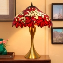 1-Light Domed Nightstand Light Tiffany Red Hand Cut Glass Maple Leaf Patterned Table Lamp with Pull Chain