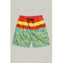 Mens Shorts Creative Colorblock Striped Banana Pattern Drawstring Waist Regular Fitted Relaxed Shorts