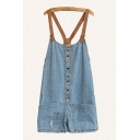Vintage Womens Overalls Ripped Button Pocket Leather Belt Oversize Short Denim Overalls