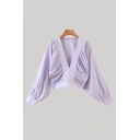 Stylish Womens Blouson Sleeve Deep V-neck Ruched Relaxed Fit Blouse Top in Purple