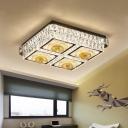 Modern Square Flush Ceiling Light Clear Crystal Block LED Bedroom Floral Patterned Lighting Fixture in Chrome