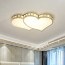 Crystal Loving Heart Flush Light Contemporary LED Gold Ceiling Lighting for Bedroom
