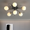 6 Bulbs Living Room Semi Flush Contemporary Black Ceiling Lamp with Ball Cream Prismatic Glass Shade
