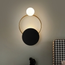 LED Bedside Wall Lighting Modernism Black Wall Sconce with Circle Metallic Shade, Yellow/White Light
