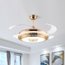 Round Crystal Fan Light Ceiling Fixture Modern 19