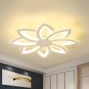 Modern Flower Flush Light Fixture Acrylic LED Bedroom Flush Mount Spotlight in White