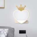 Heart with Crown Wall Lamp Contemporary Acrylic Pink/Gold LED Wall Mount Light Fixture for Bedroom