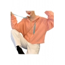 Chic Plain Zipper Up Grommet Contrasted Drawstring Long Sleeve Loose Fitted Cropped Hoodie for Women