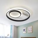 Metal Circular Flush Mount Lamp Contemporary LED Black Ceiling Flush for Bedroom, 16.5