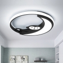 Nordic Moon Flush Mount Lighting Acrylic LED Bedroom Ceiling Light Fixture in Black/White with Monkey Pattern