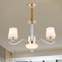 Modern Tapered Pendant Light Fixture Opaline Glass 3 Lights Bedroom Chandelier in Gold