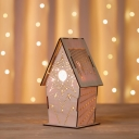 Kids USB LED Night Light Brown Sculpted Flower/Star/Loving Heart Patterned Cabin Table Lamp with Wood Lamp Shade