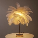 Feather Coconut Palms Table Light Modern Romantic Pink/White Battery USB LED Nightstand Lamp