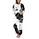 Trendy Womens 3D Jumpsuit American Flag Geometric Suit Color Block Pattern Pocket Drawstring Zip Full Sleeve Ankle Length Relax Fit Hooded Jumpsuit