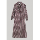 Womens Creative Checkered Geometric Pattern Button Up Bow Tie Front Shirred Long Sleeve Turn Down Collar Long Shirt Dress in Red