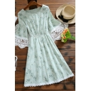 Elegant Ladies Ditsy Floral Printed Lace Trim Gathered Waist Round Neck Flare Cuff Sleeve Mini A-Line Dress