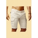 Chic Mens Solid Color Zipper Fly Flap Pocket Knee Length Slim Fit Cargo Shorts