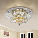 Flower LED Ceiling Flush Light Contemporary Crystal Encrusted Bedroom Semi Flush in Chrome