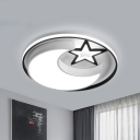 Star and Moon Ceiling Fixture Contemporary Acrylic LED Bedroom Flush Light in Black