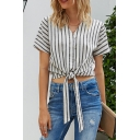 Stylish Womens Stripe Printed Short Sleeve V-neck Button Up Tied Hem Relaxed Crop Shirt Top in White