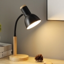 Nordic Single Head Nightstand Lamp Black/White/Yellow Dome-Like Task Lighting with Metallic Shade