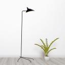 Single Light Duckbill Floor Light with Tripod Nordic Style Metallic Rotatable Standing Light in Black